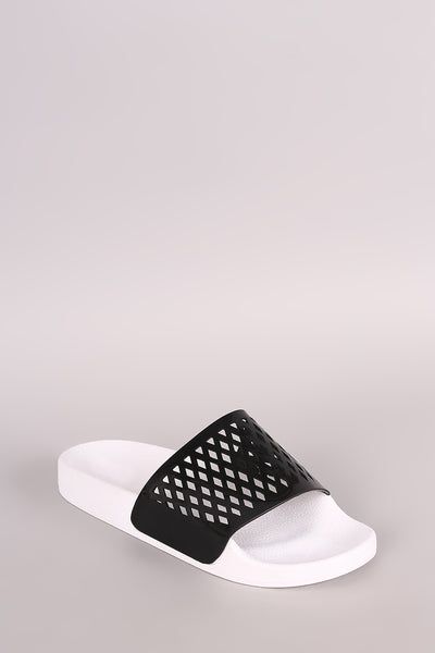 Qupid Perforated Patent Open Toe Slide Sandal