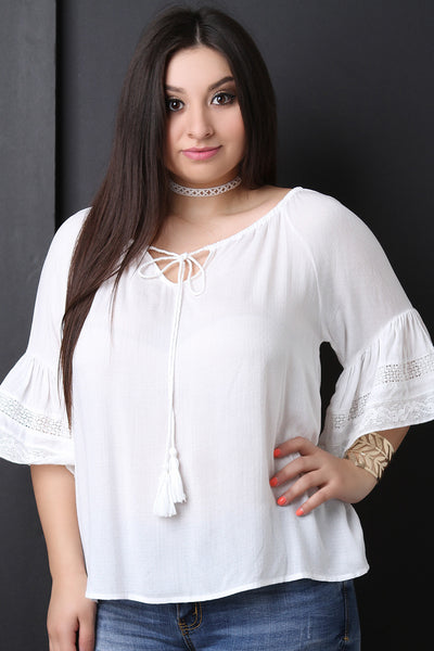 Textured Self-Tie Tassel Bell Sleeve Top