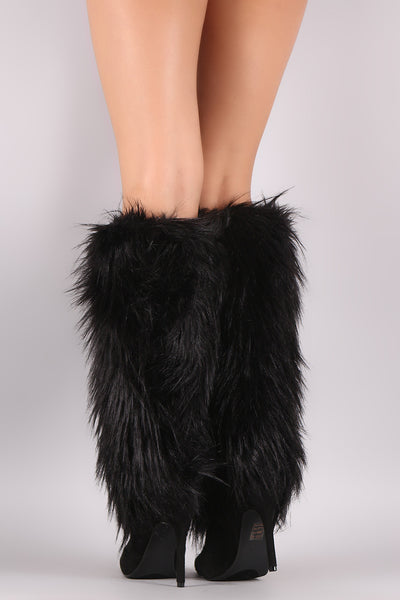 Faux Fur Shaft Pointy Toe Stiletto Knee High Boots