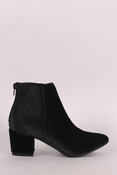 Crushed Velvet Block Heeled Ankle Boots