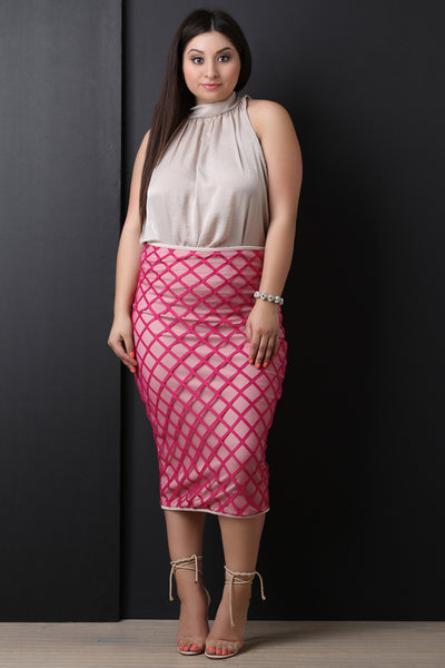 High Waisted Lined Grid Midi Skirt