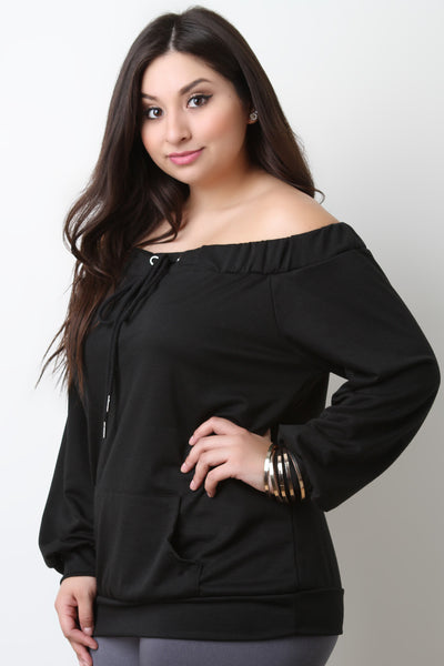 Off The Shoulder Self Tie Pocket Top