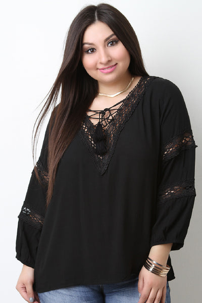 Crochet Tassel Lace Up V-Neck Quarter Sleeves Peasant Top