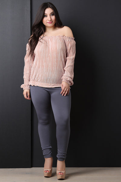 Satin Accordion Pleated Long Sleeve Top