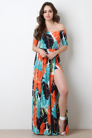 Tropical Leaf Romper Maxi Dress