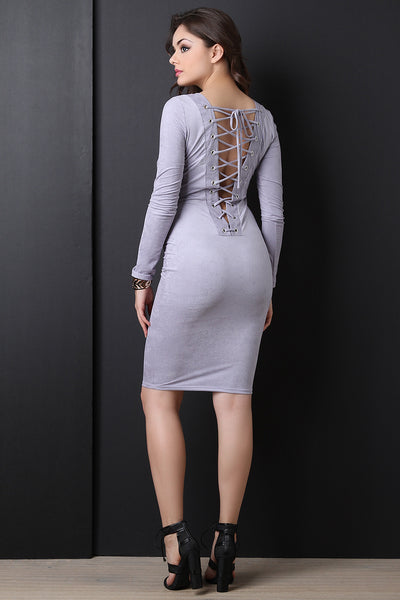 Back Corset Lace Up Suede Midi Dress