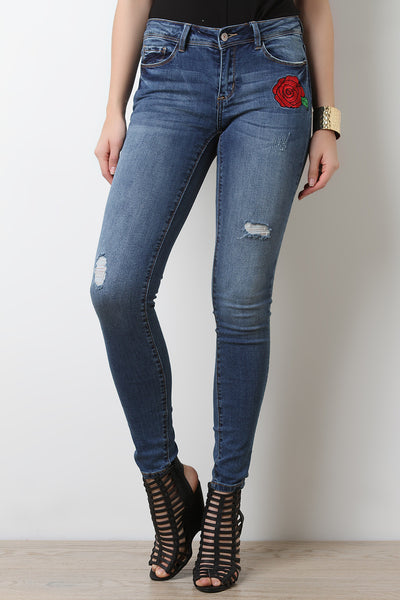 Rose Embroidery Slightly Distressed Jeans