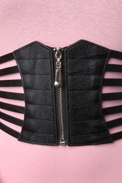 Corset Strapped Cage Zip Up Waist Belt