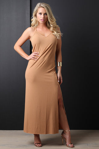 Sleeveless Ribbed Knit Double Slit Maxi Dress