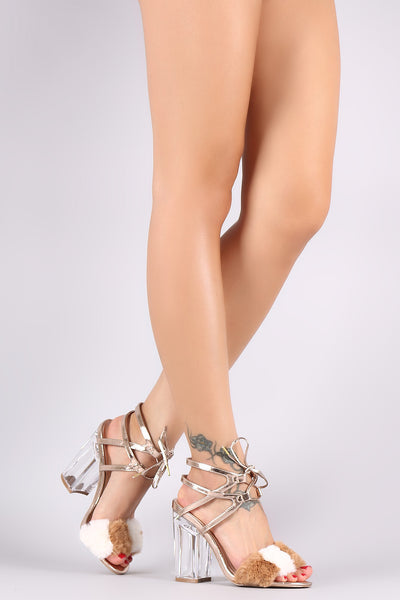 Qupid Faux Fur Ankle Cuff Lace Up Metallic Chunky Lucite Heel