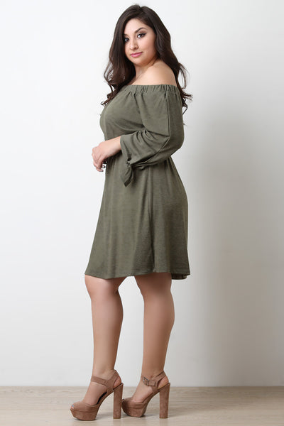 Tie Sleeves Off-The-Shoulder Dress