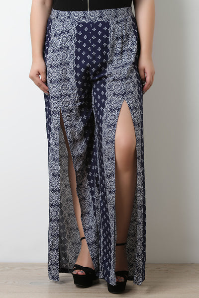 Bandana Print Slit Wide Leg Pants