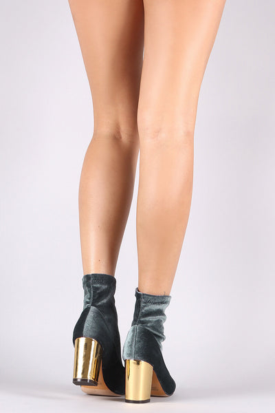 Velvet Pointy Toe Chunky Metallic Heeled Booties
