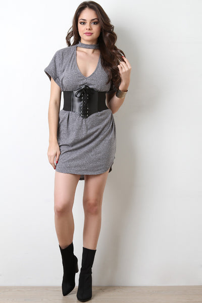 Heather Knit V-Cutout T-Shirt Dress