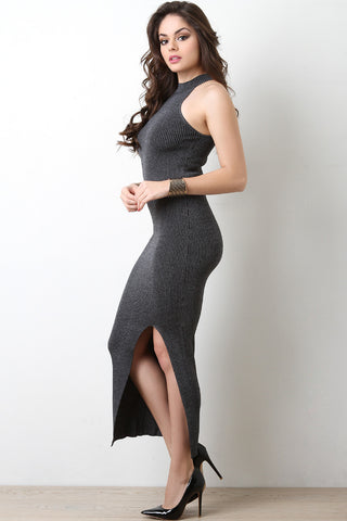 Metallic Knit Cutaway Maxi Dress