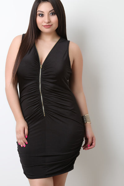 Ruched Zip-Up Front Sleeveless Dress