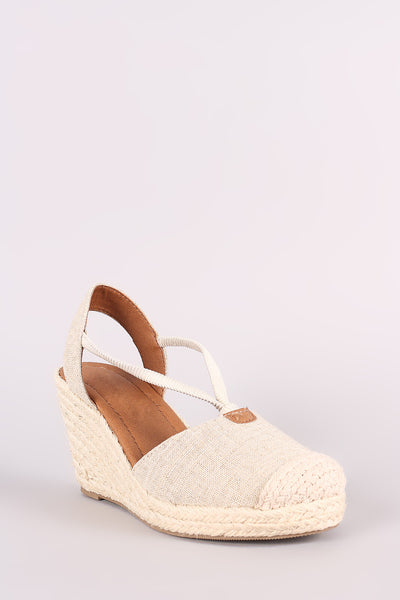 City Classified Linen Round Toe Espadrille Platform Wedge