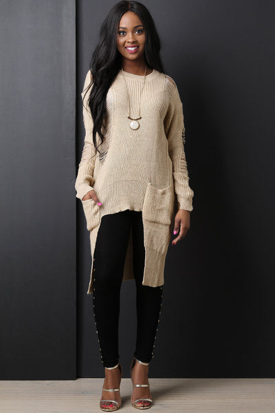 Square Hem High Low Sweater Top