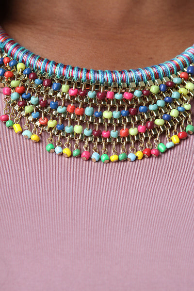 Tribal Bohemian Wrapped Rope Beaded Necklace