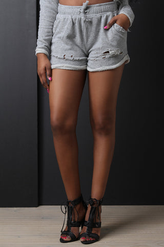 French Terry Distressed Short