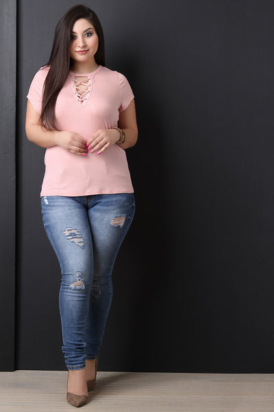 Ribbed Knit Lace-Up Short Sleeves Top