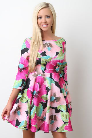 Tropical Floral Boat Neck Skater Dress