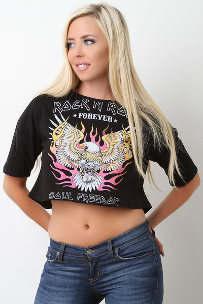 Rock N Roll Forever Graphic Crop Top