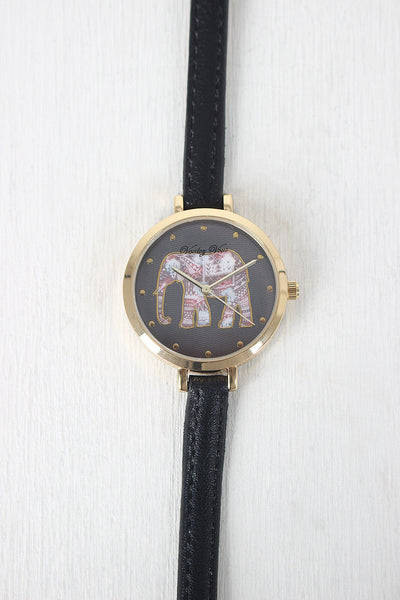 Thin Strap Etched Elephant Watch