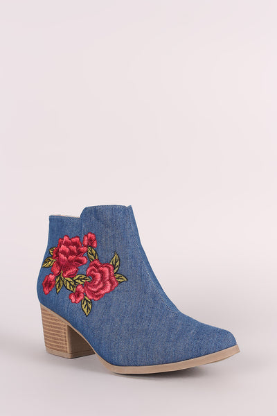 Qupid Denim Embroidery Floral Chunky Heeled Booties