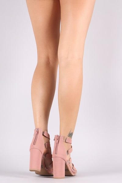 Qupid Open Toe Caged Transparent Detail Chunky Heel