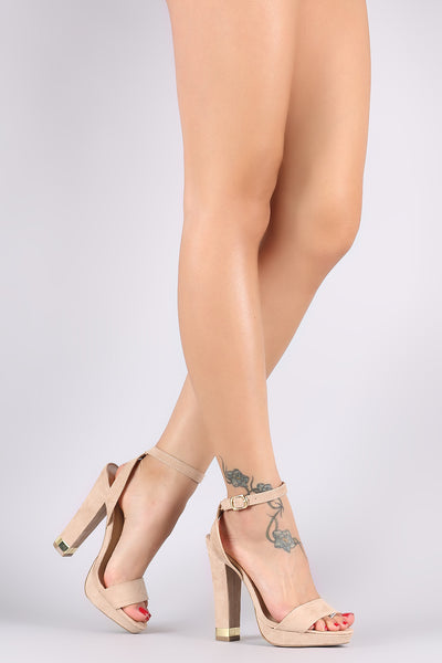 Wild Diva Lounge Suede Ankle Strap Metallic Trim Chunky Heel