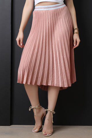 Silky High Waisted Pleated Midi Skirt