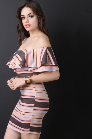 Stripe Off-The-Shoulder Bodycon Mini Dress