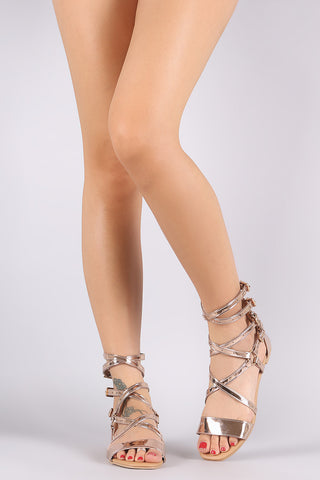 Qupid Mirror Metallic Patent Strappy Buckled Gladiator Flat Sandal