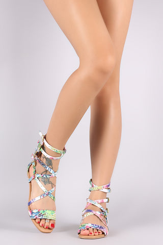 Qupid Tropical Print Strappy Buckled Gladiator Flat Sandal