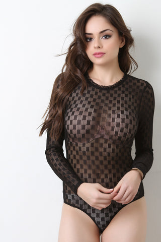 Semi-Sheer Mesh Checkered Ruffle Neck Bodysuit