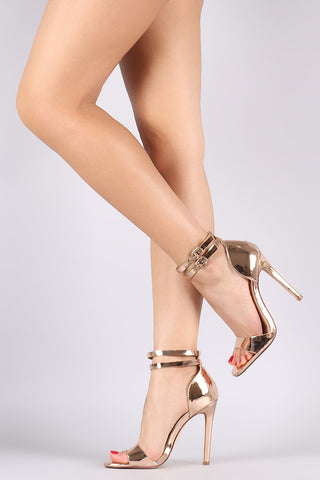 Liliana Mirror Metallic Double Ankle Strap Stiletto Heel