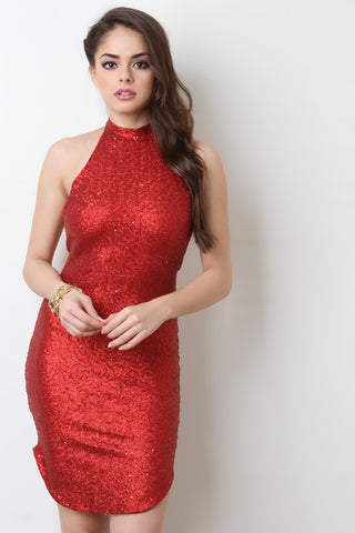 Glitter Sequins Cutaway Dress