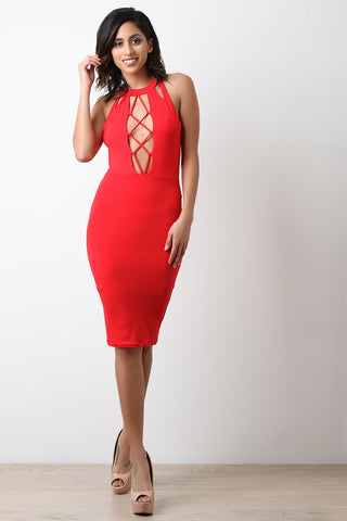 Lattice Cage Cutout Bodycon Dress