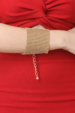 Shiny Rhinestone Thick Band Bracelet