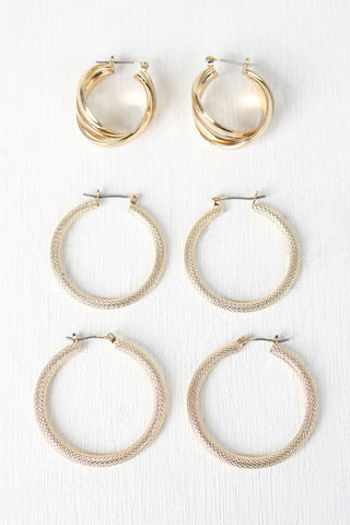 Textured Hoops Earring Set