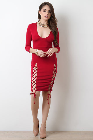 Side Lace-Up Scoop Neck Bodycon Dress
