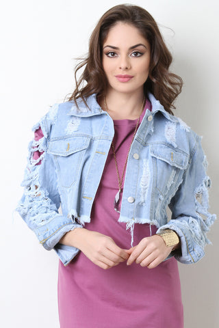 Distress Arm Crop Denim Jacket