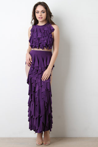 Semi-Sheer Mesh Tiered Ruffle Maxi Dress