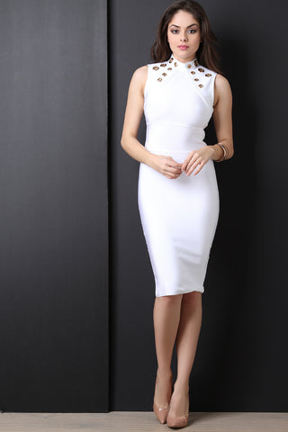 Eyelets Mock Neck Bandage Dress