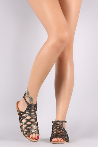 Qupid Snake Embossed Caged Cutout Flat Sandal