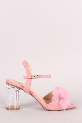 Liliana Fluffy Fur Lucite Chunky Perspex Heel