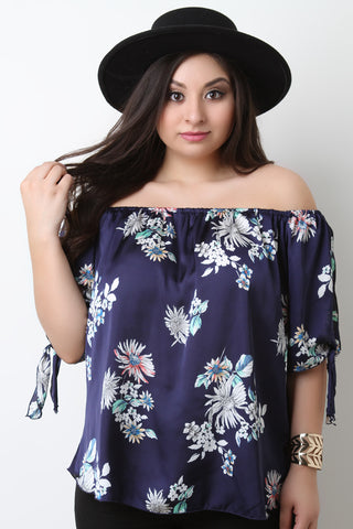 Floral Satin Off The Shoulder Self-Tie Sleeve Top