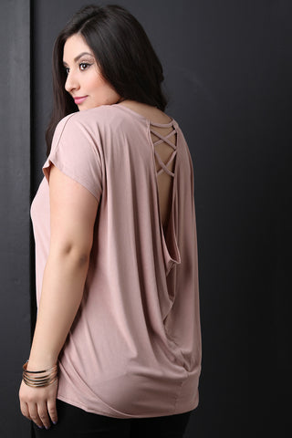 Smooth Knit Draped Open Lattice Back Top