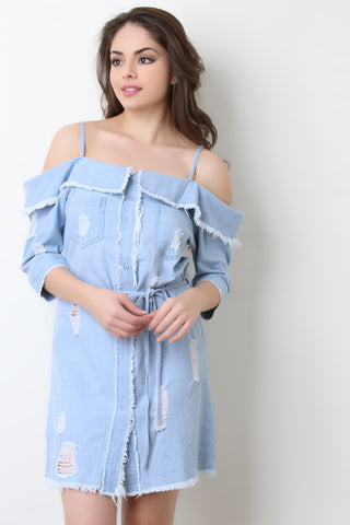 Frayed Denim Open Shoulder Button-Up Dress